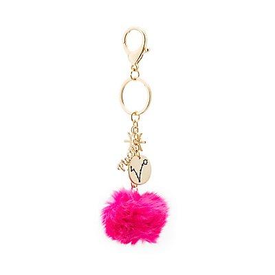 """Pisces"" Zodiac & Faux Fur Keychain"