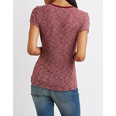 Strappy Ringer Ribbed Tee