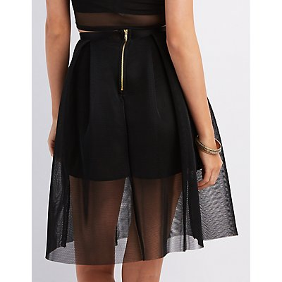 Mesh Pleated Midi Skirt