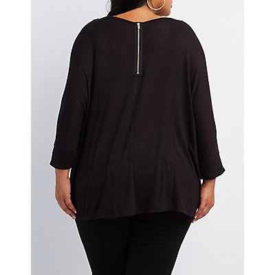 Plus Size High-Low Dolman Tee