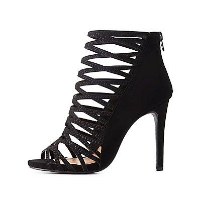 Caged Peep Toe Dress Sandals