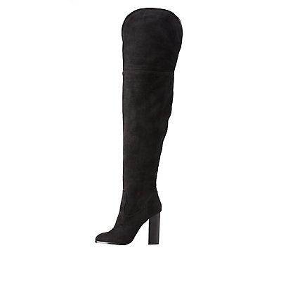 Chunky Heel Thigh-High Boots