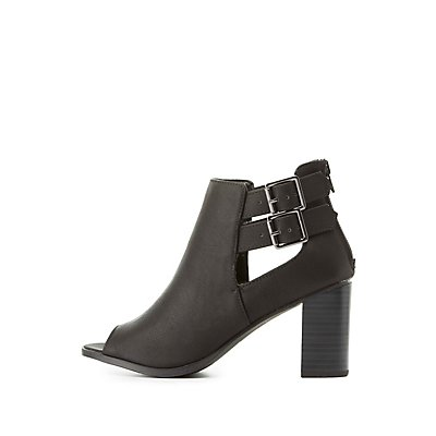 Peep Toe Cut-Out Booties