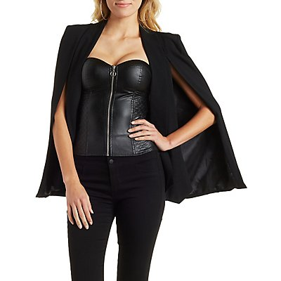 Faux Leather Quilted Corset Top