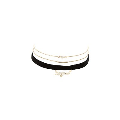 Aquarius Zodiac Choker Necklaces -3 Pack