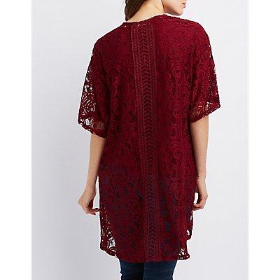 Lace Crochet-Trim Kimono