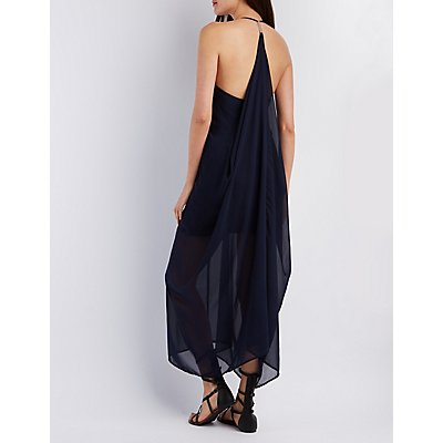 Draped Sleeveless Maxi Dress
