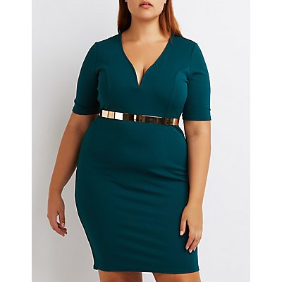 Plus Size Notched Bodycon Dress