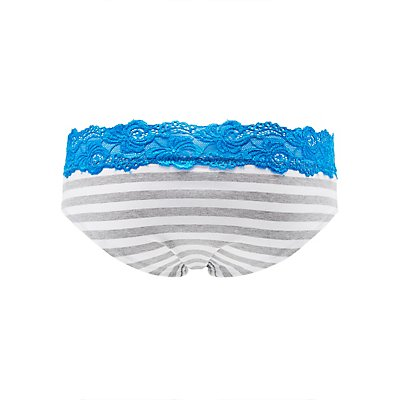Striped Lace-Trim Hipster Panties