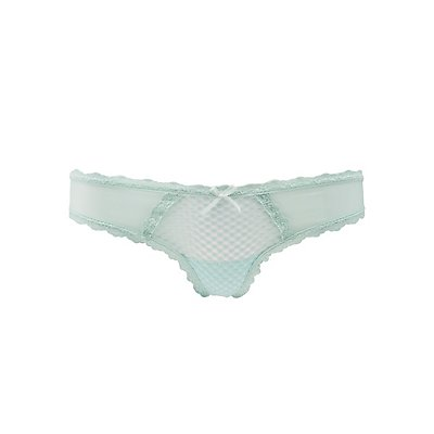 Sheer Mesh & Lace Thong Panties