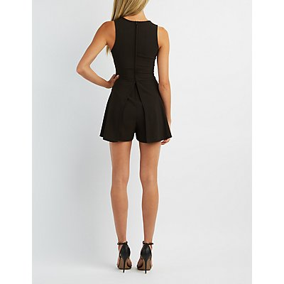 Plunging Slit Sleeveless Romper