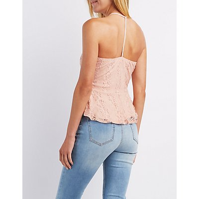Caged Lace Peplum Top
