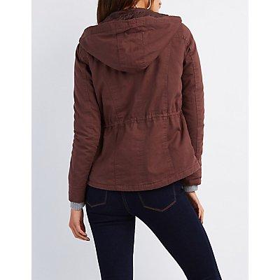 Hooded Drawstring Anorak Jacket