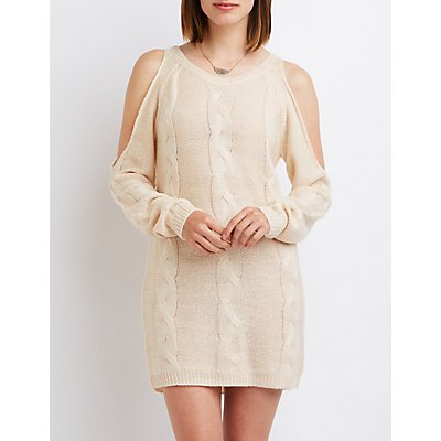 Cable Knit Cold Shoulder Sweater Dress