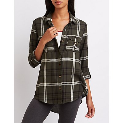 Plaid D-Ring Pocket Button-Up Shirt
