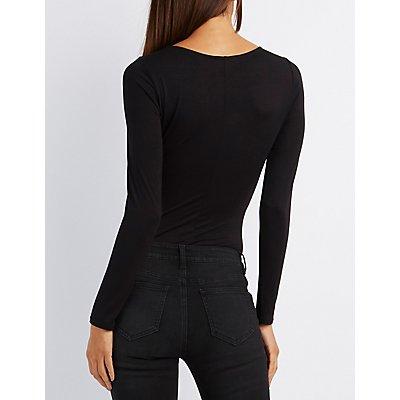 Plunging Lattice-Front Bodysuit