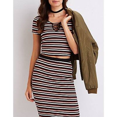 Striped & Ribbed Caged Crop Top