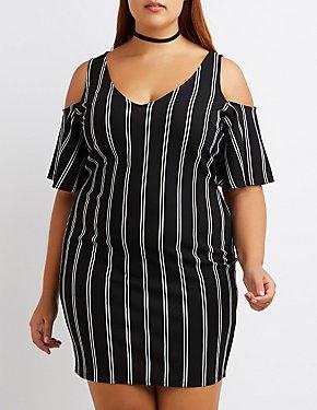Plus Size Striped Cold Shoulder Dress