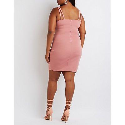 Plus Size Textured Asymmetrical Dress