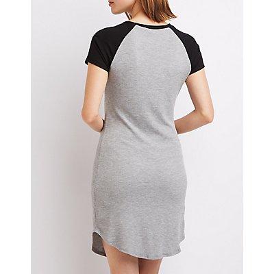 Waffle Knit Raglan T-Shirt Dress