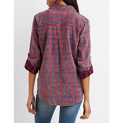 Stonewash Plaid Button-Up Shirt