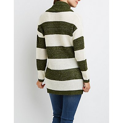 Striped Cowl Neck Tunic Sweater