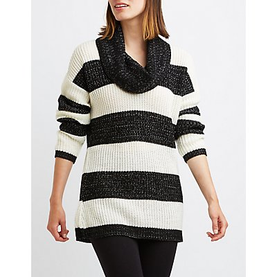 Striped Cowl Neck Tunic Sweater
