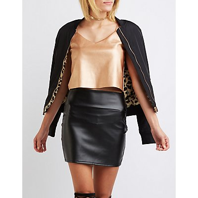 Metallic Faux Leather Crop Top