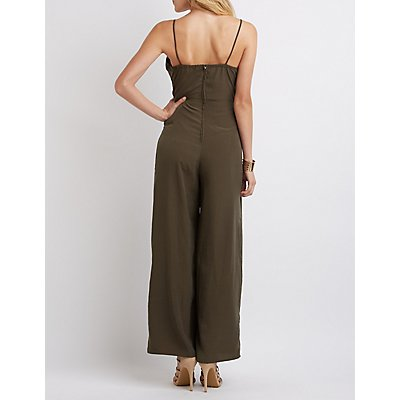 Satin Surplice Jumpsuit