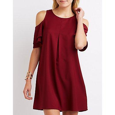 Tiered Cold Shoulder Shift Dress