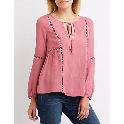 Crochet-Inset Tie Neck Top
