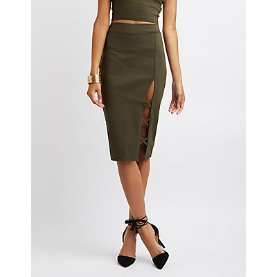 Caged Slit Pencil Skirt
