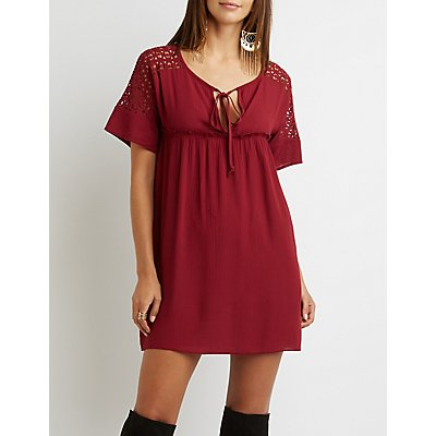 Crochet-Trim Babydoll Shift Dress