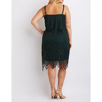 Plus Size Tiered Lace Midi Dress