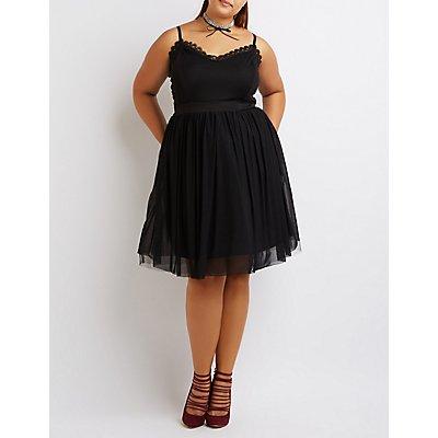 Plus Size Mesh Lace-Trim Skater Dress