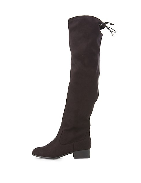 a1e5ee66503 Tie-Back Knee-High Riding Boots