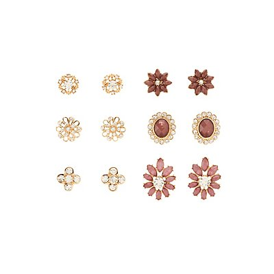 Embellished & Faceted Stone Stud Earrings - 6 Pack