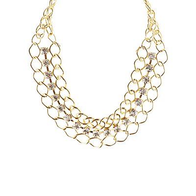 Chain & Rhinestone Statement Necklace