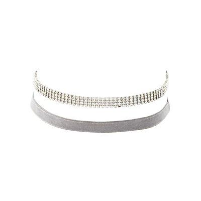 Velvet & Rhinestone Choker Necklaces - 2 Pack