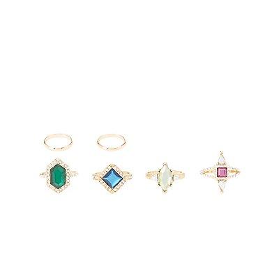 Faceted Gemstone Rings & Midi Rings - 6 Pack