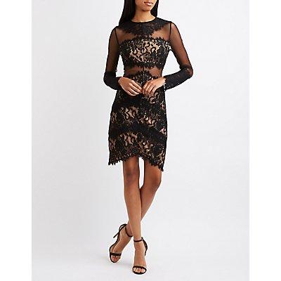 Lace & Mesh Asymmetrical Bodycon Dress
