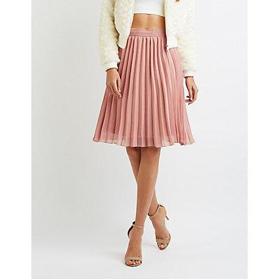 Pleated Chiffon Midi Skirt