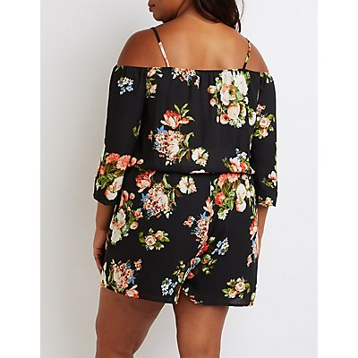 Plus Size Floral Cold Shoulder Romper