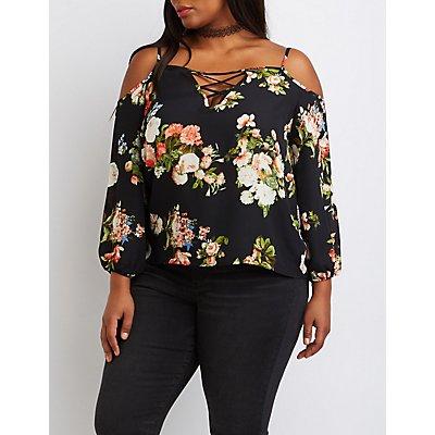 Plus Size Floral Lattice Cold Shoulder Top