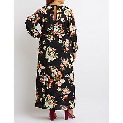 Plus Size Floral Slit Sleeve Maxi Dress