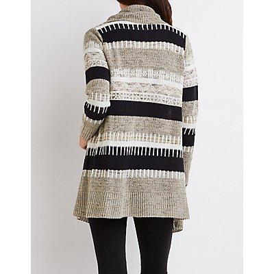 Striped Mixed Knit Cardigan