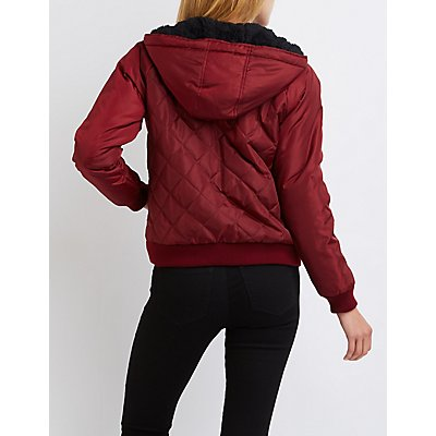 Quilted Sherpa-Lined Bomber Jacket