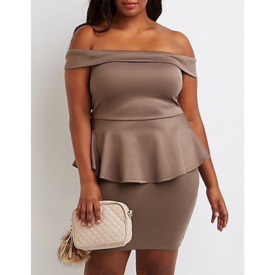 Plus Size Off-The-Shoulder Peplum Dress
