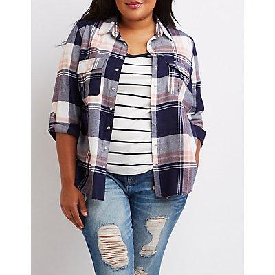Plus Size Plaid Button-Up Shirt