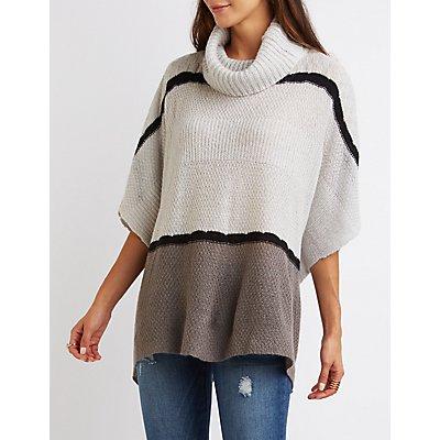 Cowl Neck Striped Poncho Sweater